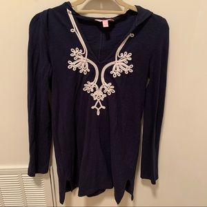 Lilly Pulitzer Thea V Neck Navy Blue Tunic Size S